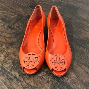 Tory Burch Shoes - Orange Tory Burch wedged flats.
